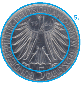 Schriftzug einer Münze Rückseite