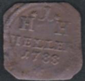 Viereckige Münze: 1 Heller