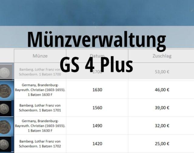 Münzverwaltung durch Software: GS 4plus