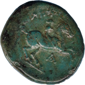 Bronzemünze mit grüner Patina